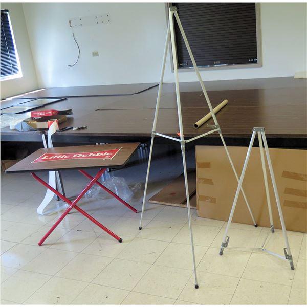 Qty 2 Tripod Easels & 'Little Debbie' Folding Table