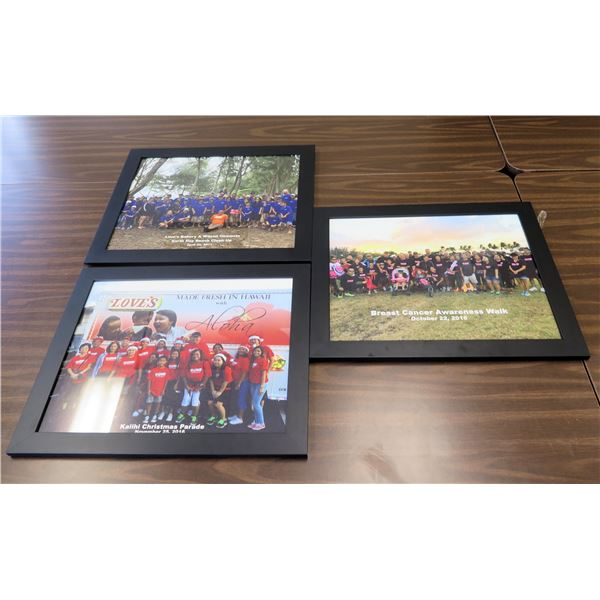 Qty 3 Framed Photos: Earth Day Clean Up, Kalihi Christmas Parade & Breast Cancer Walk
