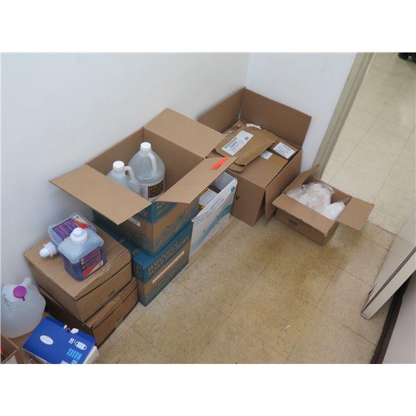 Multiple Boxes of Supplies: Toilet Paper, Hand Soap, etc
