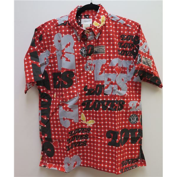 Love's-Themed Red/Black/Gray Aloha Shirt, Size M