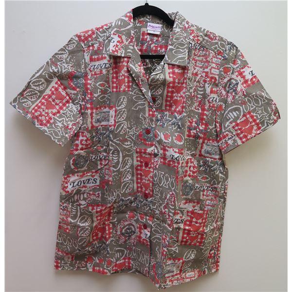 Love's-Themed Red & Gray Aloha Shirt, Size L