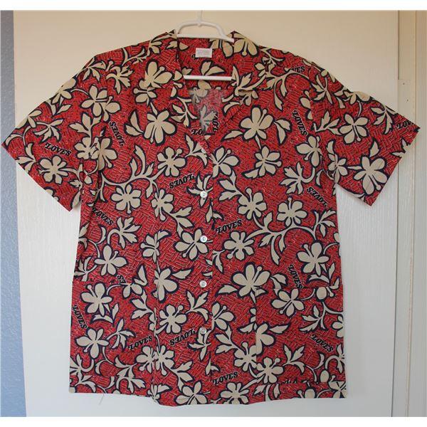 Love's Logo Red Floral Print Aloha Shirt, Size S