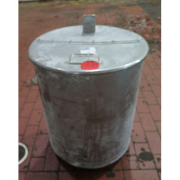 "Metal Bucket w/ Attached Half Lid 24"" Diameter x 30"" Ht"