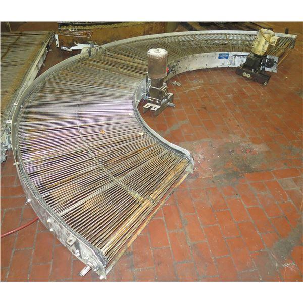"""Lanham 7705 Semi-Circle Roller Conveyor w/ Dayton Industrial Motor 13'L x 44""""W"""