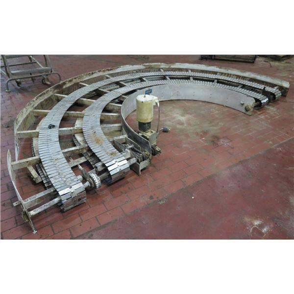"Lanham Semi-Circle Dual Conveyor Belt w/ Baldor Motor 13'6""L x 47""W"
