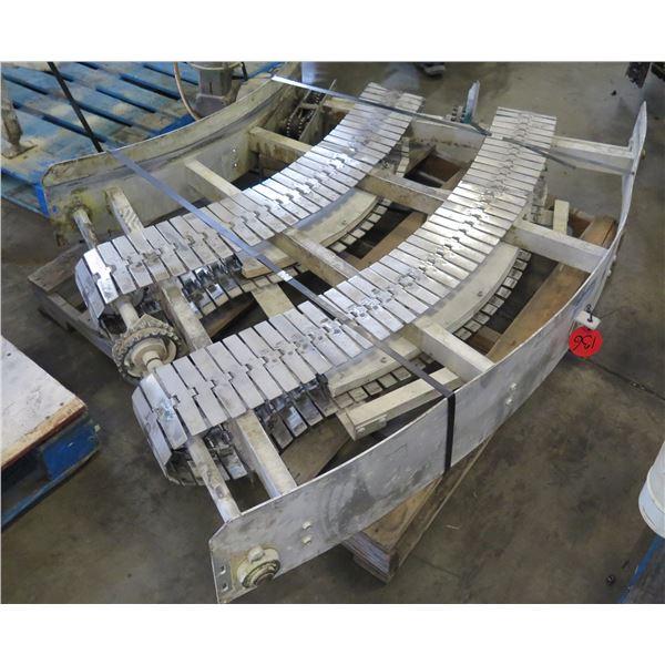 "Lanham 7720 Semi-Circle Dual Conveyor Belt w/ Baldor Motor 64""L x 36""W"