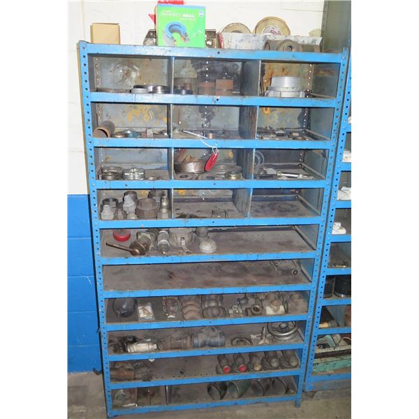 Metal 10 Tier & 12 Compartment Storage Shelf & Contents: Seals, Hardware, etc