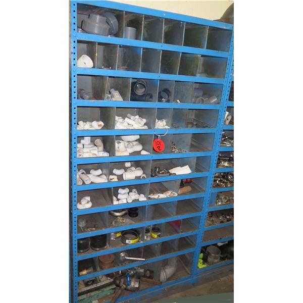 Metal 11 Tier & 43 Compartment Storage Shelf & Contents: Elbows. Pipe, etc