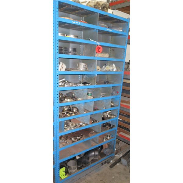 Metal 11 Tier & 25 Compartment Storage Shelf & Contents: Gaskets, Fittings, etc