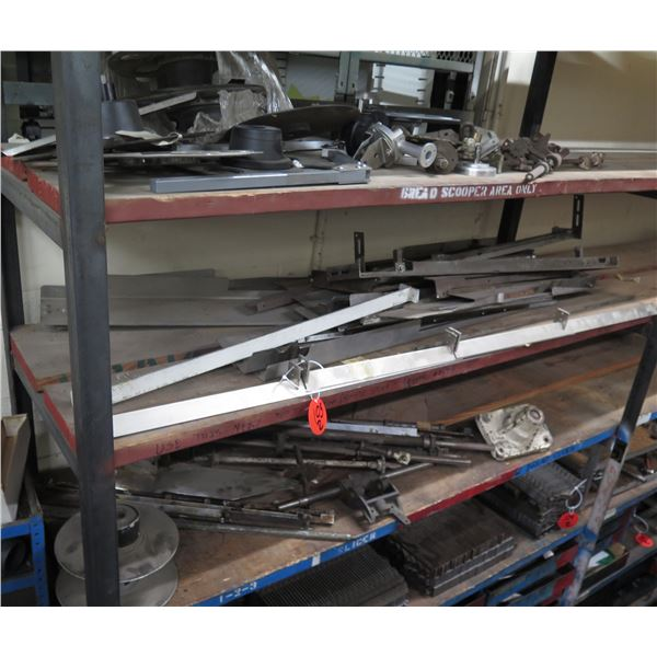 Contents of Shelf: Metal Angle Iron, Hinges, Hardware, Slicer Parts, etc