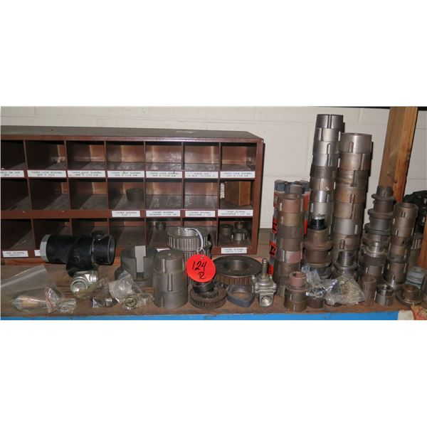 Metal 23 Compartment Unit & Contents of Shelf: Lovejoy Couplings, Spiders, etc