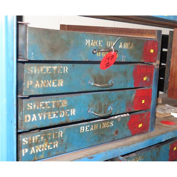 Qty 12 Drawers & Contents: Sheeter Panners, Dayfeeder, Fittings, Bearings, etc
