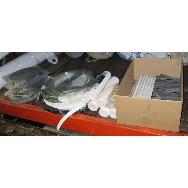 Contents of Shelf: Aqua Pure Fuel Cartridges, Norton Grinder Wheels, Strapping, etc