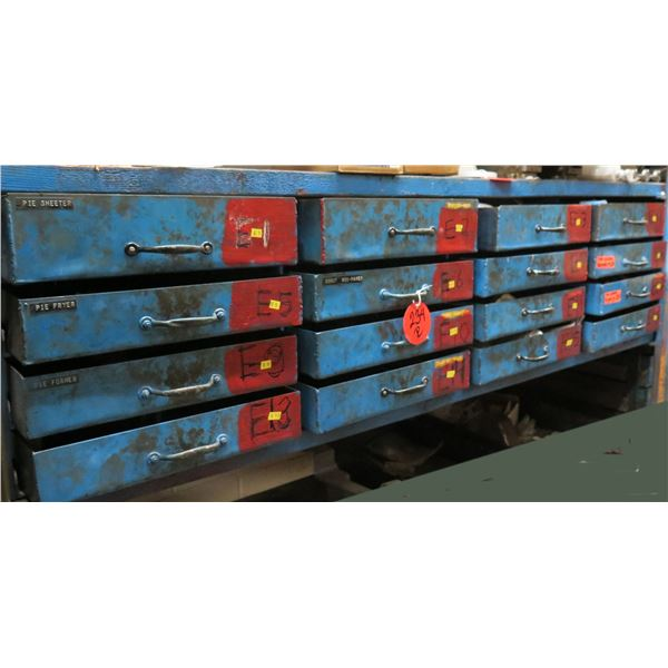 Qty 12 Drawers & Contents: Gear Roller Chains, Fittings, Regulators, Belts, etc
