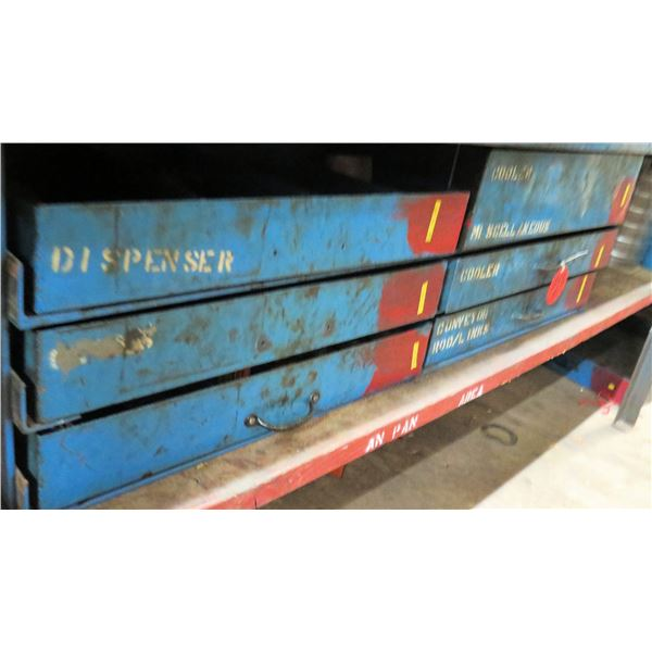 Qty 6 Metal Drawers & Contents: Gears, Rods, Gear Roller Chains, Brushes, etc