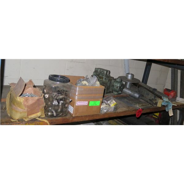 Contents of Shelf:  Gear Motor, Bolts, Fittings, Couplings, Exhaust Valves, etc