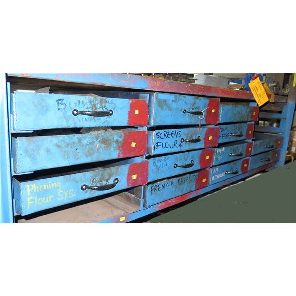 Qty 10 Metal Drawers & Contents: Tyco Pneumatic Lubricant, Nuts & Bolts, U-Joints, etc