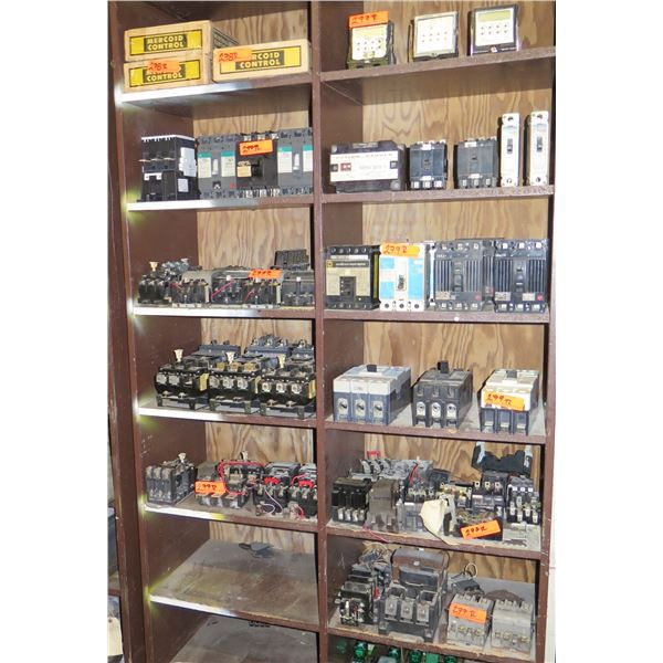 Contents of Shelf: Cuttler Hammer Nema Size 3, Circuit Breakers, Toggle Switches, etc