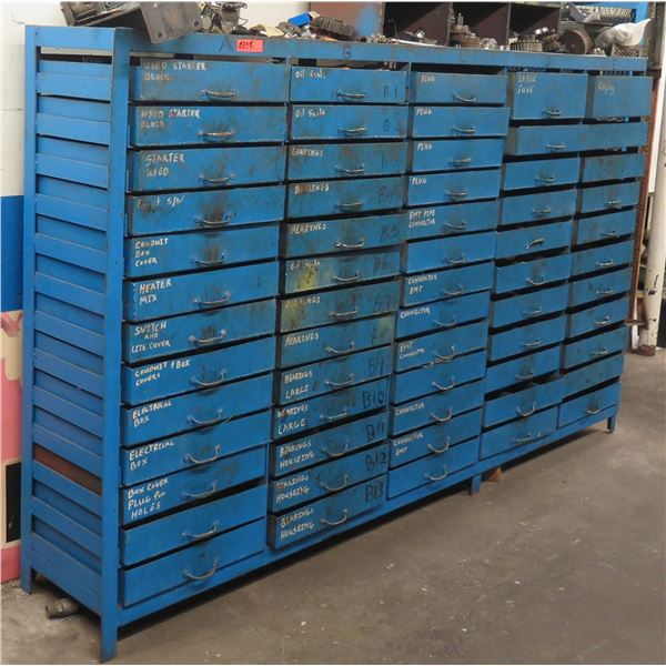 Metal Shelf w/ 65 Drawers & Contents: Starters, Circuit Breakers, Bearings, Fittings, etc