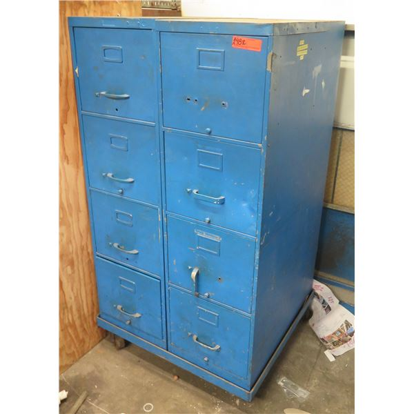 Qty 2 Blue Metal 4 Drawer File Cabinets & Contents: Extension Tubes, Fittings, Elbows