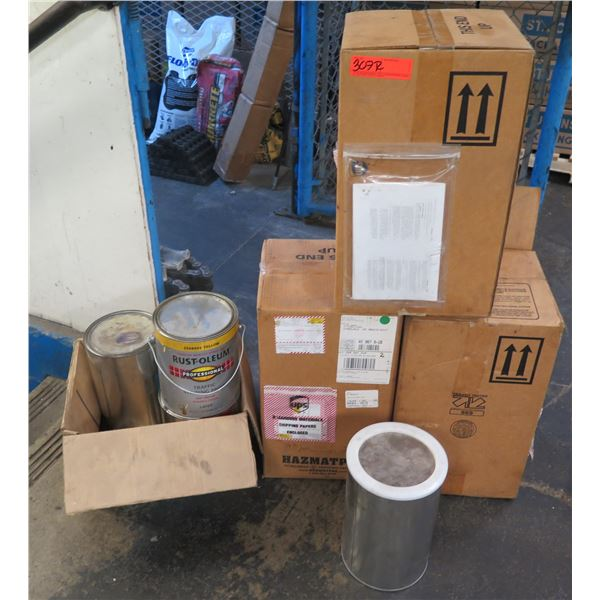 Qty 3 Boxes Ethyl Acetate Adhesives UN1133/1173 & Box Rust-Oleum Paint, etc