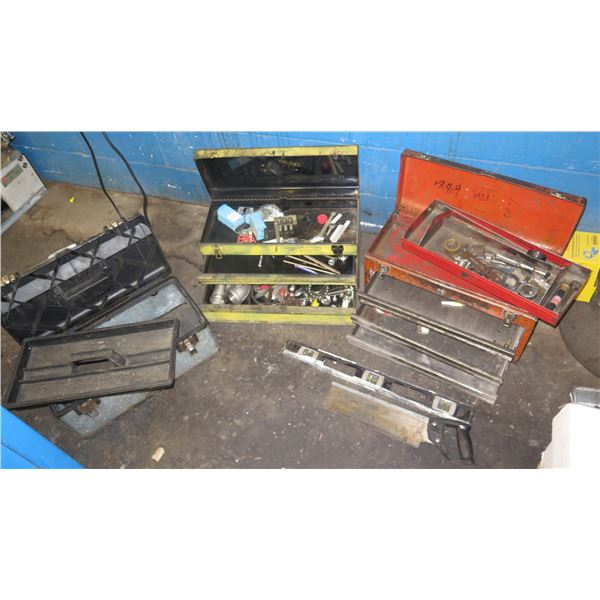 Qty 3 Tool Boxes & Contents: Levels, Lights, Bearings, Hardware, etc & Box Ear Plugs