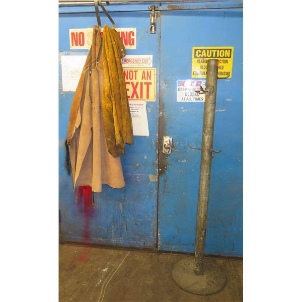 Qty 2 Metal Coat Racks w/ Misc Aprons