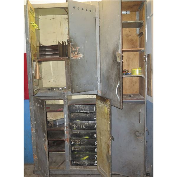 Stacking 2 Door Cabinets & Contents: File Sorters, 8 Metal Drawers, Testers, etc