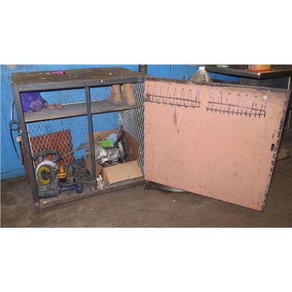 Metal Wire Mesh Cabinet w/ Door & Contents: Power Tools & Batteries, Boots, etc