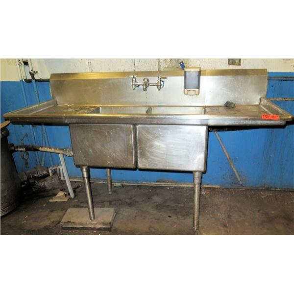 "Metal 2 Basin Sink w/ Side Drains 72""x28""x44""H"