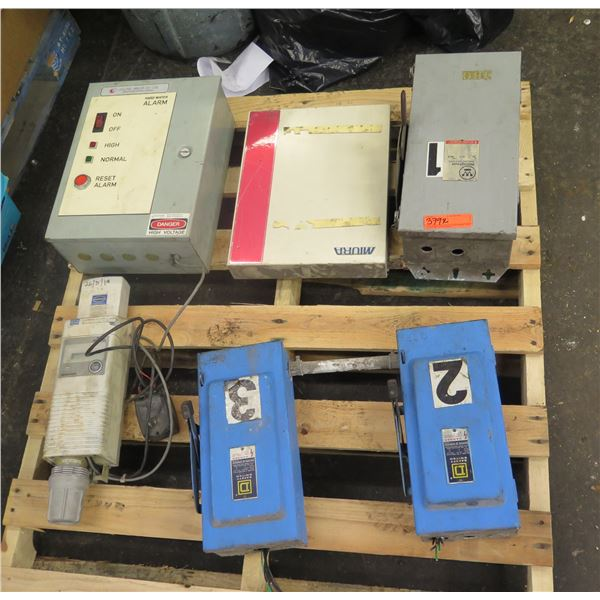 Pallet 2 Square D & 1 Westinghouse Safety Switches, Hard Water Alarm, Miura MTU