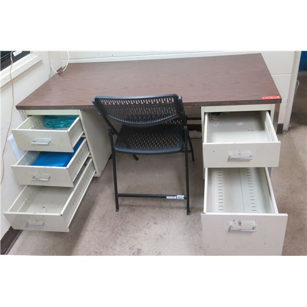 "Metal & Wood Laminate Desk w/ 5 Drawers 60""x30""x29""H w/ Folding Chair"