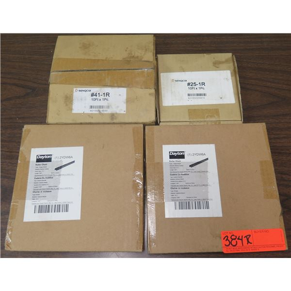 Qty 2 Boxes Dayton Roller Chain 2YDW6A & 2 Boxes Senqcia #25-1R 10' Chain
