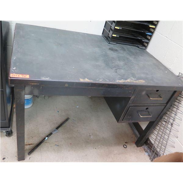 """Metal Shop Desk w/ 2 Drawers & Organizer 48""""x34""""x31""""H"""