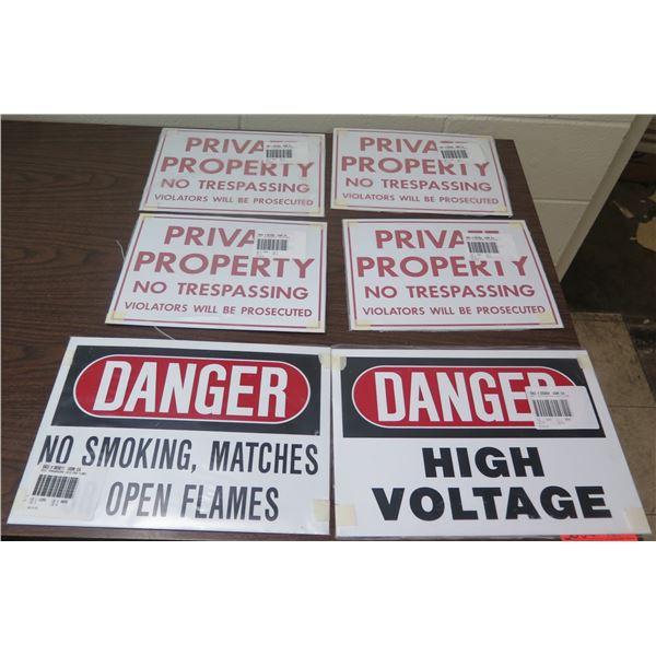 Qty 6 Signs: 4 Private Property No Trespassing, 1 High Voltage, 1 No Smoking