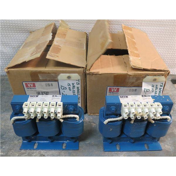 Qty 2 MTE Corporation 3 Phase Line Reactors 600V in Box RL-02502