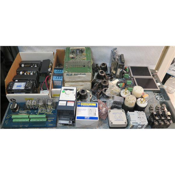 Multiple Allen-Bradley Relays 815-COV16, IMC Direct 100-C23, Telemecanique Sensors