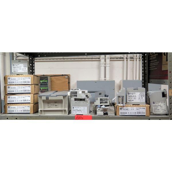 Contents of Shelf: Allen-Bradley Output Modules, Relays, MicroLogix 1100-1200, etc