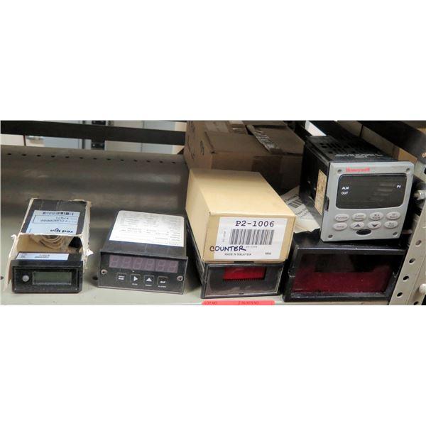 Contents of Shelf: Honeywell Controller, Electro-Numerics Display, Laurel Counter, etc