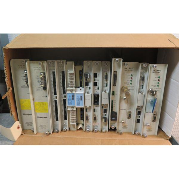 Box Multiple Honeywell UDC 9000 Multi-Pro Logic Processors & Power Supply Modules