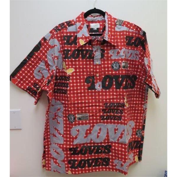New Love's Theme Red/Black Aloha Shirt, Size M