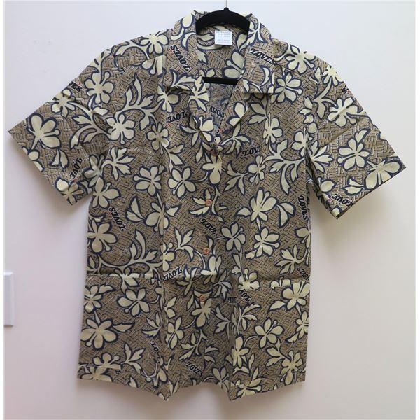 New Love's Logo Brown Floral Print Aloha Shirt, Size L
