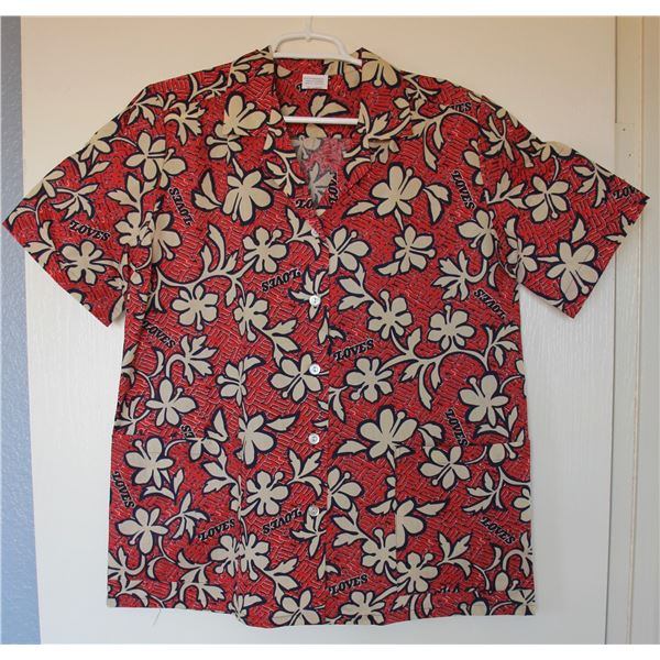 New Love's Logo Red Floral Print Aloha Shirt, Size M