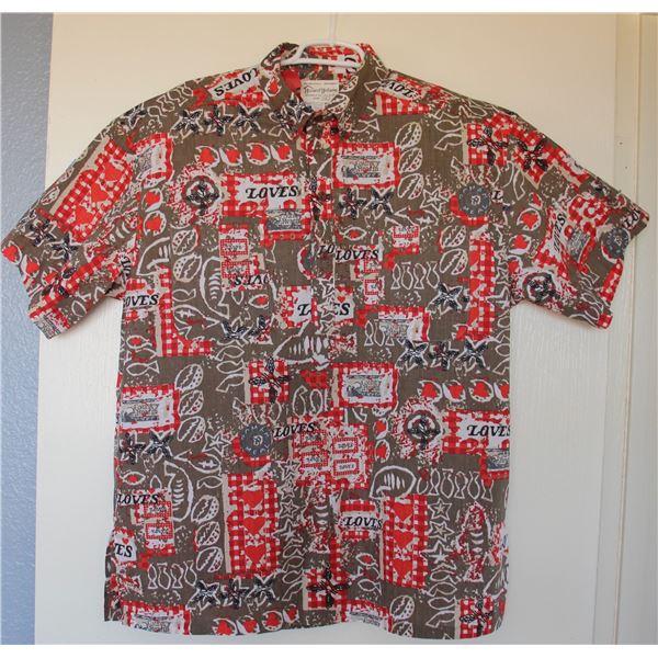 New Love's Logo Theme Brown/Red Aloha Shirt, Size 3XL