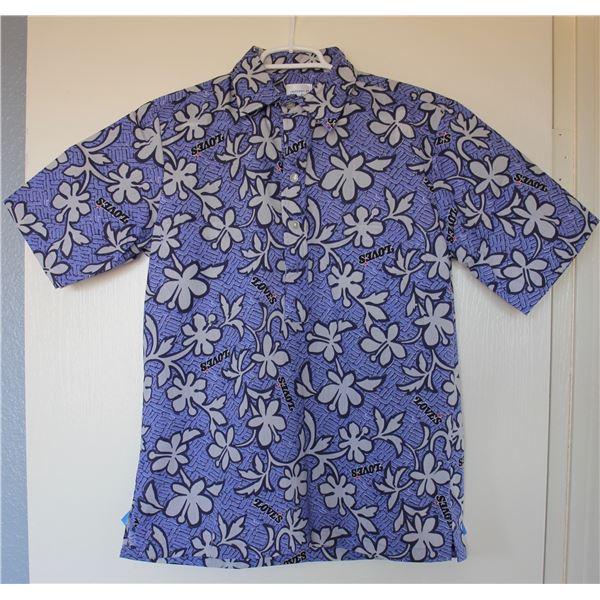 New Love's Logo Blue Print Aloha Shirt, Size M