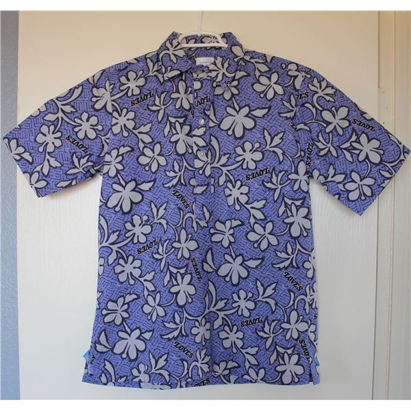 New Love's Logo Blue Print Aloha Shirt, Size 4X