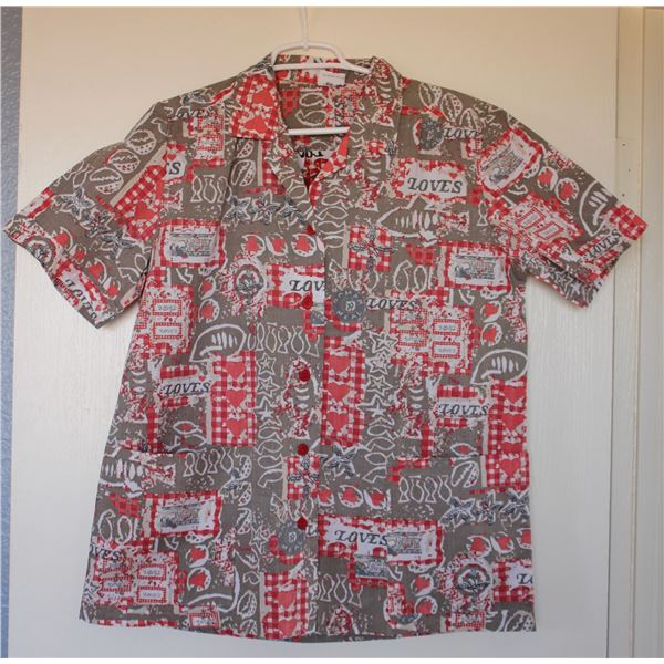 New Love's Logo Theme Lt. Gray/Red Aloha Shirt, Size S