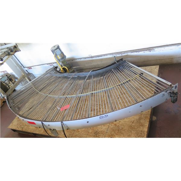 "Metal Roller Semi-Circle Conveyor System w/ Baldor Motor 104"" x 37"""