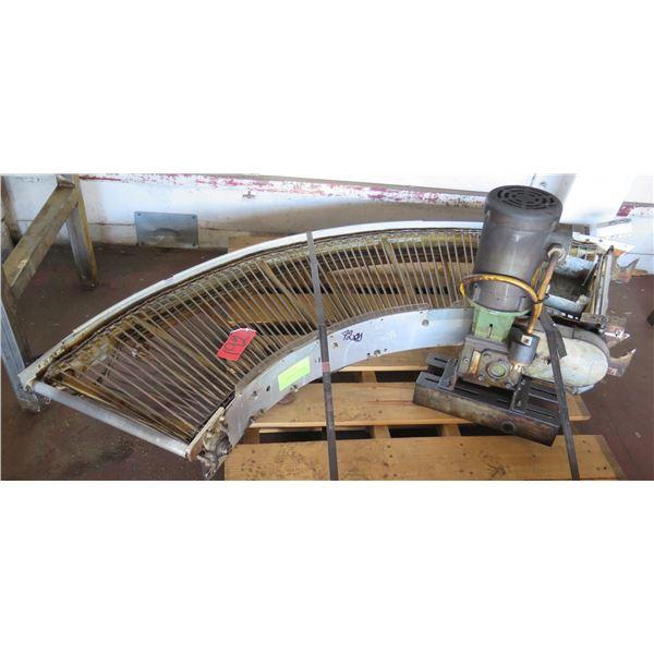 "Metal Roller Semi-Circle Conveyor System w/ Baldor Motor 72"" x 20"""