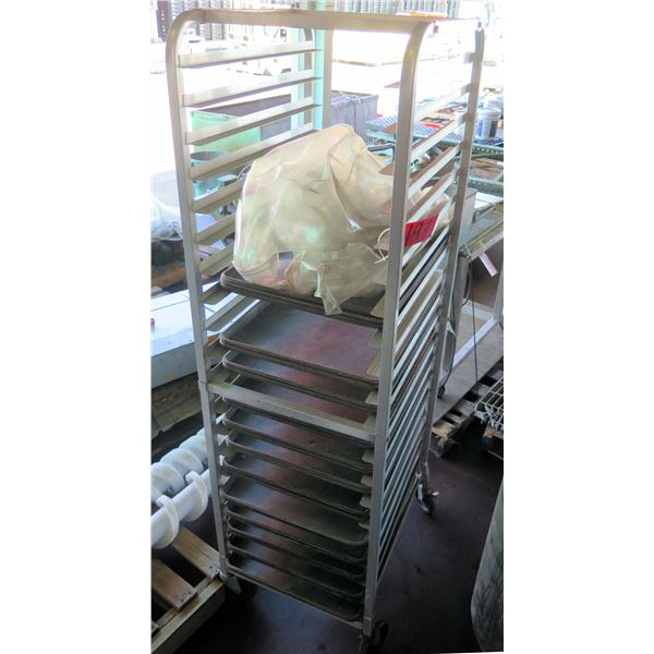 """Rolling Commercial Metal Cooling Rack w/ Some Trays 20""""x 26""""x 69""""H"""